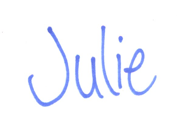 Julie signature blue no line