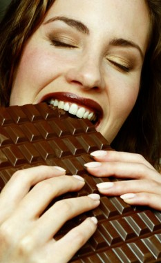 chocolate woman eating